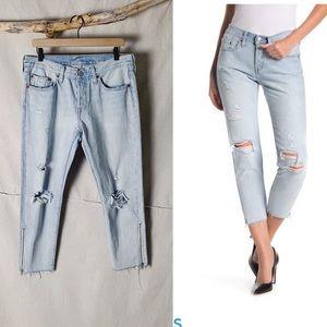 LEVI'S 501 T Zipper Hem Cropped Distressed Jeans